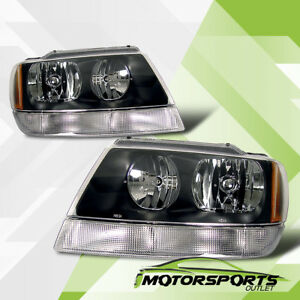 Black Replacement Headlights Head Lamps Pair For 1999 2004 Jeep Grand Cherokee
