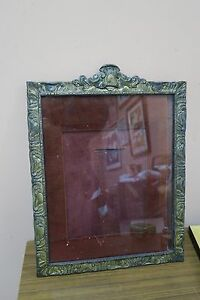 Vintage Gilt Metal Iron Art Nouveau Frame Wall Table Mirror 12 5 X 15 5