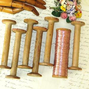 1 Antique Wood French Silk Or Metal Thread Textile Bobbin Spool Ribbon Trim Vtg
