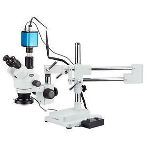 3 5x 45x Trinocular Stereo Zoom Microscope With Double Arm Boom Stand 144 led