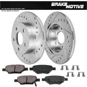Chevy Cobalt Malibu G6 Ion Rear Drilled Slotted Brake Rotors And Ceramic Pads