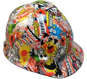 Sticker Bomb Hydro Dipped Small Sized Cap Style Hard Hat With Ratchet Liner