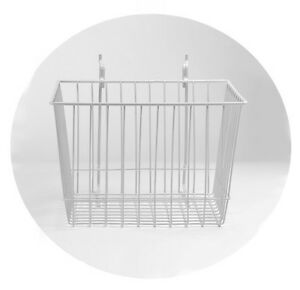 Rackems Wire Basket In White 12 X 12 X 8 Inches Mountable On Pegboard