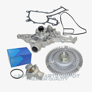 Water Pump Fan Clutch Thermostat Kit Mercedes Ml320 Ml350 163 Premium 3pcs New