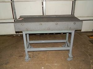 Approximate 53 x 19 x 7 Granite Top Table On Steel Stand With Adjustable Legs