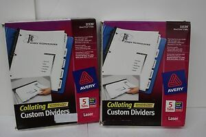 Avery Direct Print 5 Tab Custom Collating Dividers 48 Sets Avery 11539