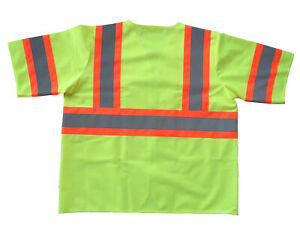 Yellow Polyester Fabric Safety Vest L Class Iii Silver Tape W Orange Trim 50pcs