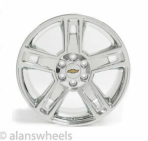 New Chevy Suburban Tahoe Chrome Gold Bowtie 22 Wheels Rims Lugs Free Ship 5664