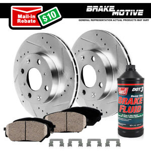 Front Kit Drilled And Slotted Brake Rotors Ceramic Pads For Sentra Versa