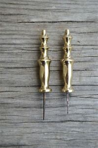 Pair Quality Small Solid Brass Victorian Finial Furniture Clock Restoration 2011