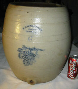 Antique Sign Usa Country Stoneware 6 Gal Wine Water Cooler Art Bottle Crock Jug