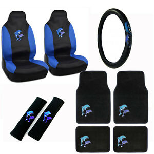 New Blue Purple Dolphins Car Seat Covers Steering Wheel Cover Floor Mats Set