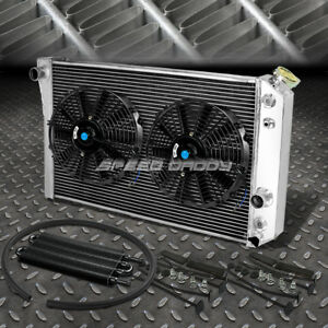 3 Row Aluminum Radiator 2x 12 Fan Oil Cooler Black For 82 02 S10 Corvette V8