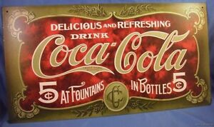 COKE COCA COLA  SODA ADVERTISING 1900S TIN METAL SIGN diner fountain made in usa