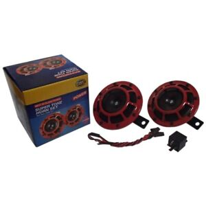 2pc Compact Electric Loud Blast 12v Red Grille Mount Super Tone Hella Horn Kit