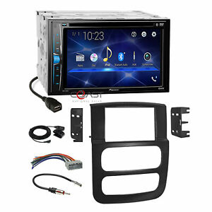 Pioneer 2 din Car Radio Stereo Dash Kit Harness For 2002 2005 Dodge Ram Truck
