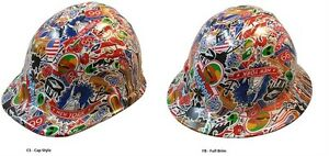 New Hydro Dipped Hard Hat W Ratchet Suspension Route 66 Sticker Bomb Design
