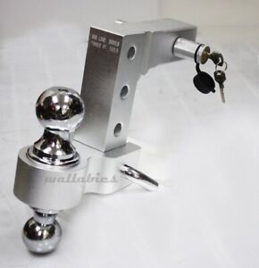 Aluminum Adjustable Trailer Drop Hitch 2 Receiver W Lock And Dual Balls