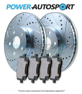 front Power Cross Drilled Slotted Plated Brake Rotors Ceramic Pads