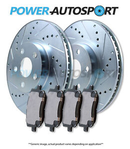 front Power Cross Drilled Slotted Plated Brake Rotors Ceramic Pads 56514pk