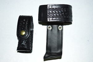 Law Pro Leather Holder For Police Radio And Spray Holder Basket Weave Desi