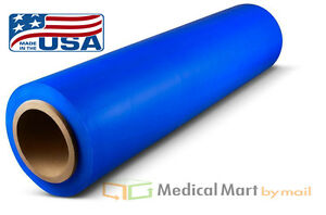 18 X 1500 80 Ga Blue Hand Stretch Wrap Film Banding 16 Rolls Free Shipping