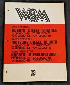 Genuine Kubota D3000 b D3200 b V4000 b V4300 b Diesel Engine Repair Manual Nice