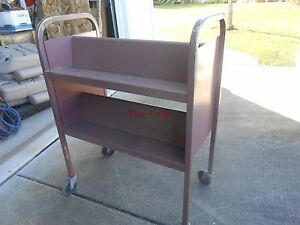 Vintage Library Industrial Rolling Book Cart Rack