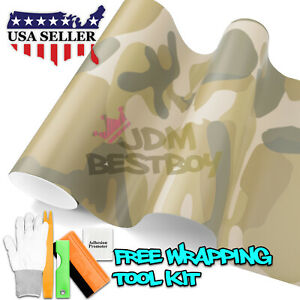 desert Camouflage Camo Vinyl Car Wrap Sticker Decal Air Release Bubble Free Diy