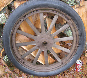 Antique Ford Model T Wood Cast Iron Rubber Car Truck Wheel Tire Oil Gas Usa Art