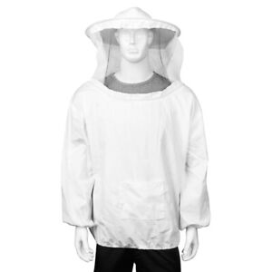 Beekeeping Jacket Pull Over Suit Outfit W Protective Veil Smock Hood L White