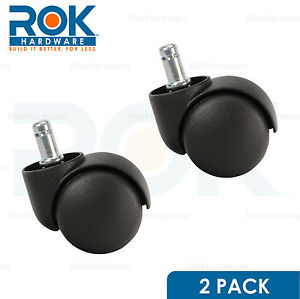 2 Pack Roller Office Desk Chair Twin Wheel Floor Caster 11mm Stem Replacement