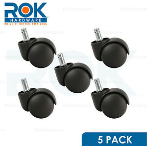 5 Pack Roller Office Desk Chair Twin Wheel Floor Caster 11mm Stem Replacement