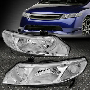 For 06 11 Honda Civic Sedan Pair Chrome Housing Clear Corner Headlight Head Lamp