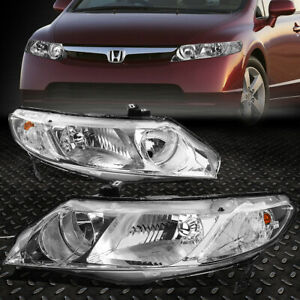 For 2006 2011 Honda Civic Fd fa Pair Chrome Housing Clear Side Headlight lamp