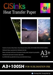 100 Sheets 13 X19 Sublimation Ink Transfer Paper Heat Press For Inkjet Printer