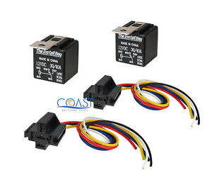 2x Car Audio Bosche Style Relay With Wire Harness Sockets Rl3040 12v 30 40 Amp
