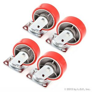 4 Swivel Plate Casters 5 Heavy Duty Cast Iron Hub Core Poly Wheel Non Skid Mark