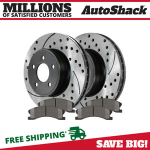 Front Drilled Slotted Rotors Ceramic Pads For 1999 2003 2004 Jeep Grand Cherokee