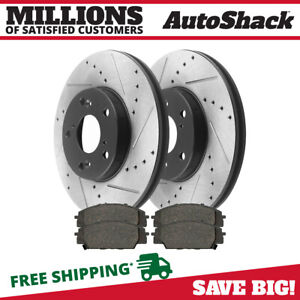 Front Drilled Slotted Rotors And Ceramic Pads For 2002 2006 Rsx 2006 2011 Civic