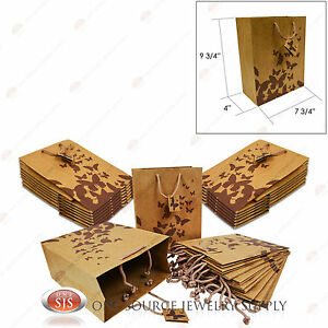 25 Brown Kraft Butterfly Paper Tote Gift Merchandise Bags 8 X 5 X 10 h