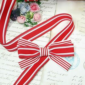 1y 7 8 French Red White Stripe Grosgrain Ribbon Trim Candy Cane Jacquard Vtg