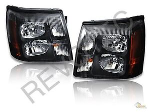 Black Headlights Head Lamps Lh rh For 03 06 Cadillac Escalade Base Ext Hid Model