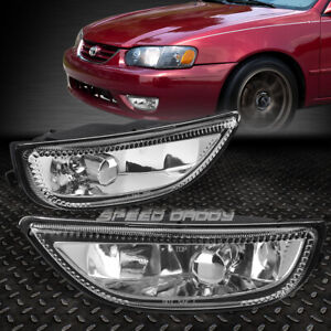 For 01 02 Toyota Corolla Clear Lens Bumper Driving Fog Light Replacement Lamps