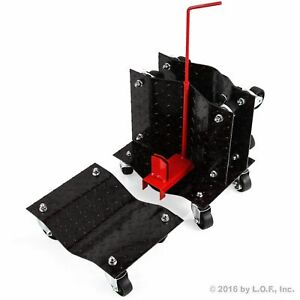 4 Black 12 Wheel Auto Car Dolly 16 Wide Skate 6000lb Hd Slide W Storage Rack
