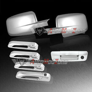 09 17 Dodge Ram Chrome 4 Door Handle Covers Tailgate Mirror Cover Combo