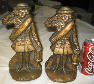 Antique Girl Scouts C 1920 The Little Camper Usa Cast Iron Statue Lamp Bookends