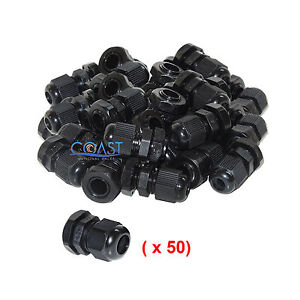 Durable Waterproof Black Nylon Cable Connector Gland Dia 13 18mm Pg21 50 Pcs