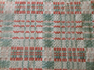Antique 19thc Primitive Loomed Wool Coverlet Pc Soft Gray Green Salmon Red
