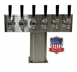 Stainless Steel Draft Beer Tower Made In Usa 6 Faucets Air Cooled Ttb 6ss op